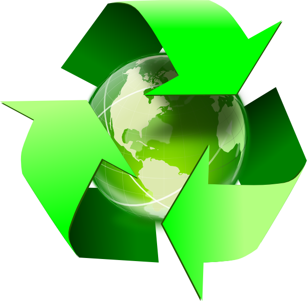 Recycle Symbol With Earth clip art.