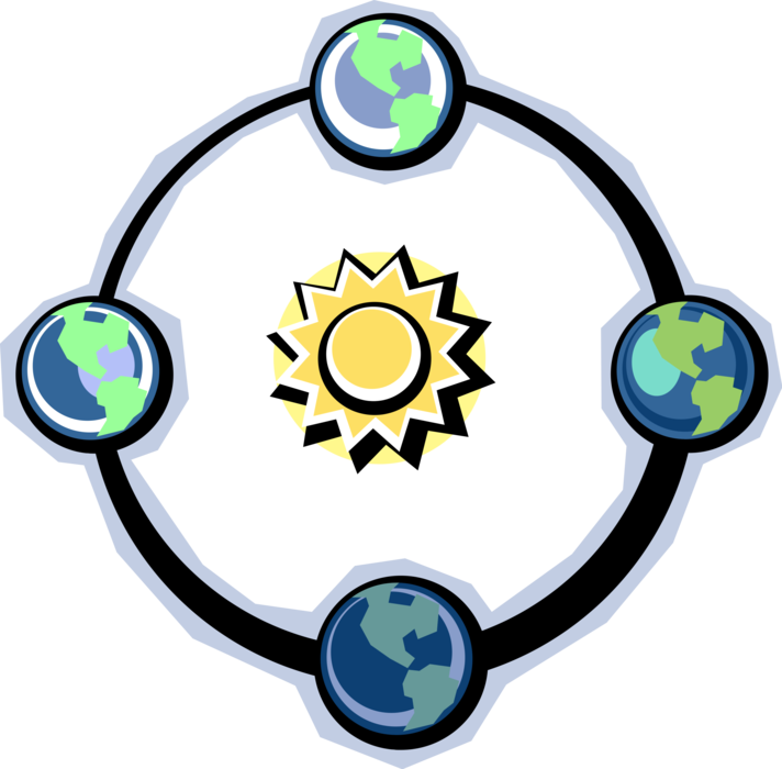 Vector Illustration Of Planet Earth World Rotating Clipart.