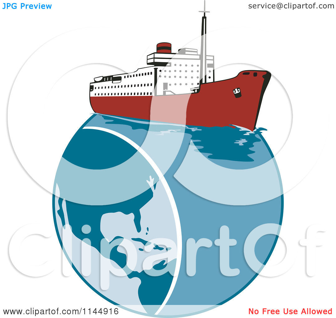 Clipart of a Retro Cruise Ship on Earth.