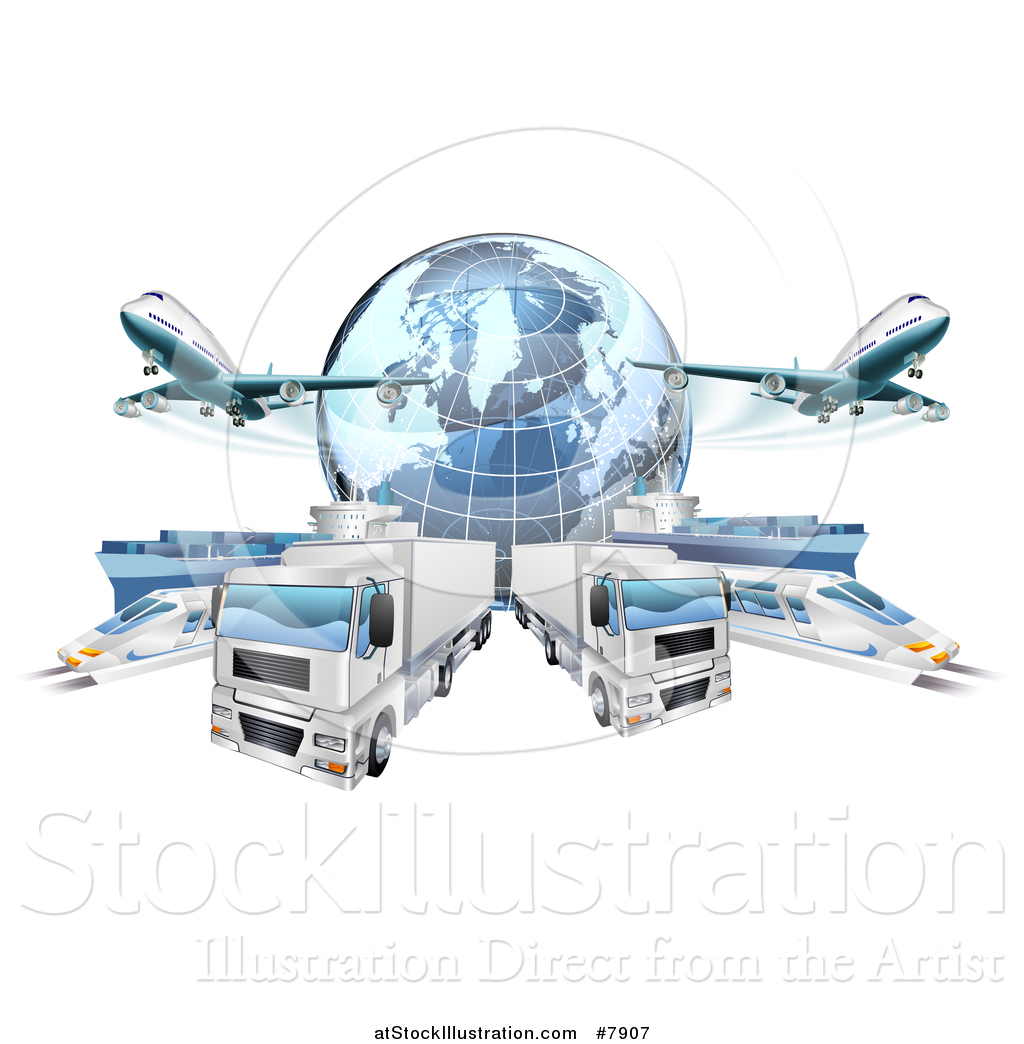 Vector Illustration of a 3d Blue Earth Globe and Cargo Logistics.