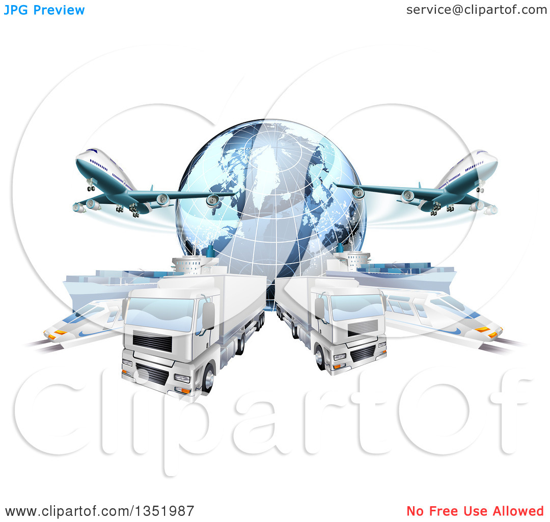 Clipart of a 3d Blue Earth Globe and Cargo Logistics Modes, Trains.
