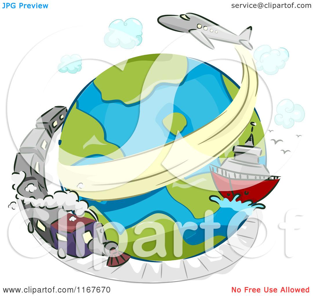 Cartoon of a Globe with a Train Ship and Airplane.