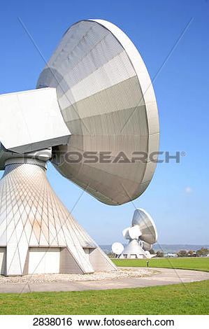 Stock Images of Satellite dishes at satellite earth station.