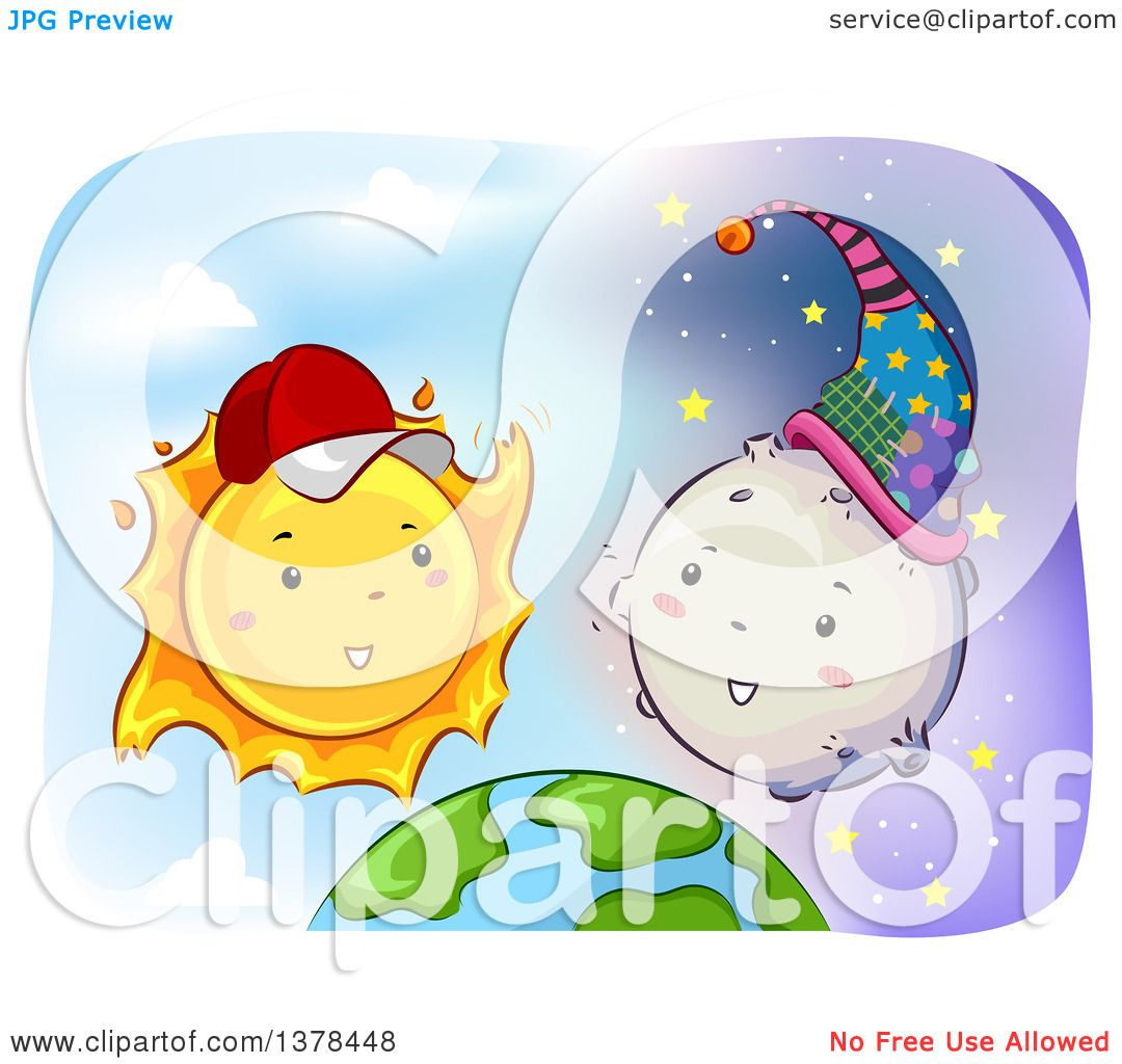 Clipart of a Happy Sun Wearing a Baseball Cap and Talking to the.