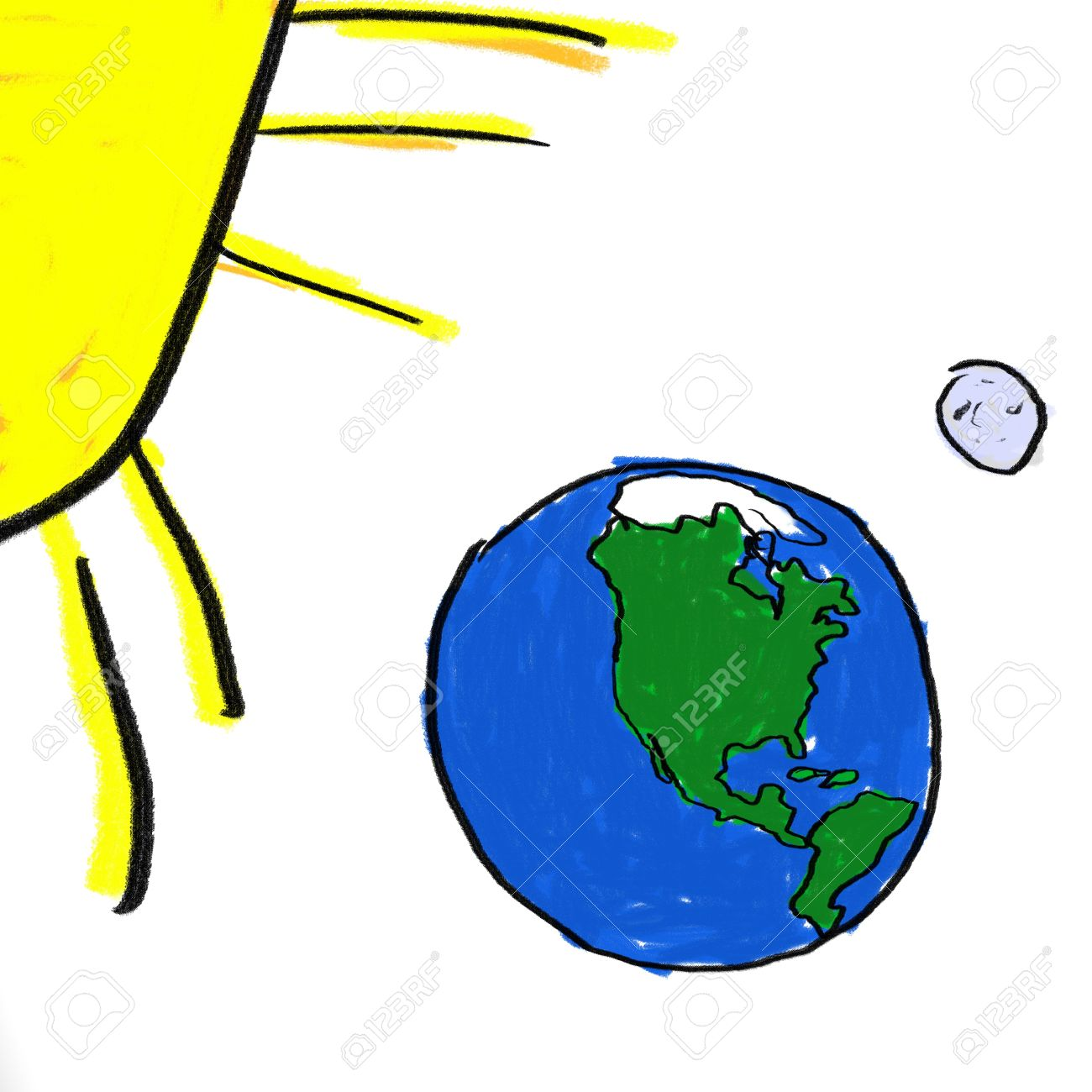 A Childlike Drawing Of The Earth Moon And Sun Stock Photo, Picture.