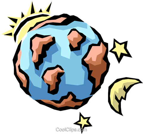 Earth, sun, moon, & stars Royalty Free Vector Clip Art.