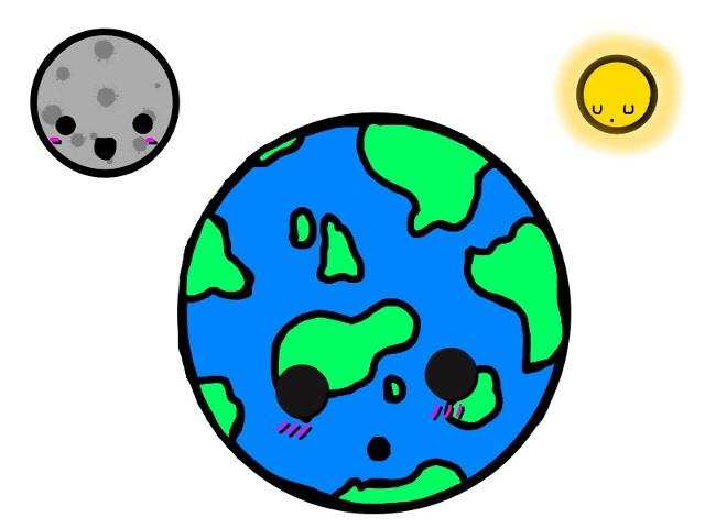 Earth, Moon amd Le Sun :3 planets cartoon earth moon sun.
