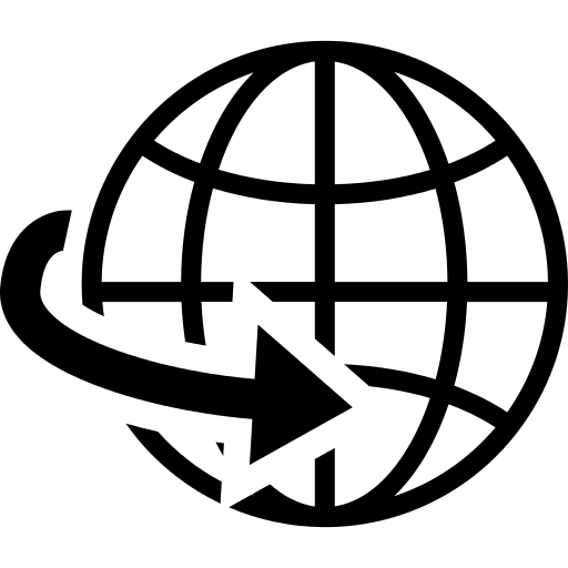 Earth Globe Grid Symbol With An Arrow PNG Icon.