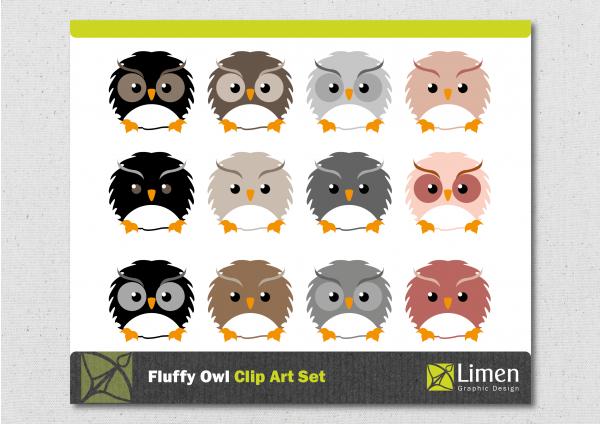 Fluffy Owl Clip Art.