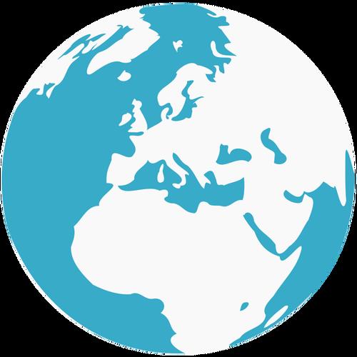 Earth blue and green globe vector clip art.