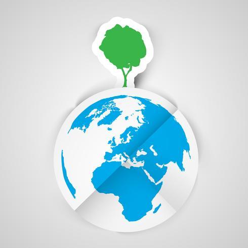 One tree on Earth vector illustration.