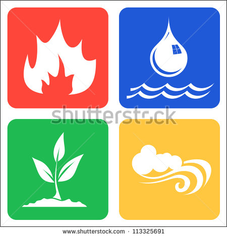 Earth Air Fire Water Stock Images, Royalty.