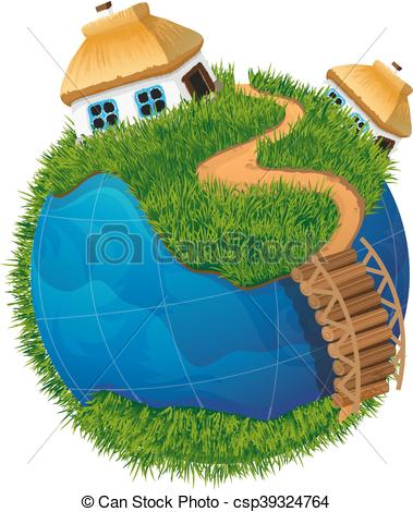 Clip Art Vector of Earth globe with houses.