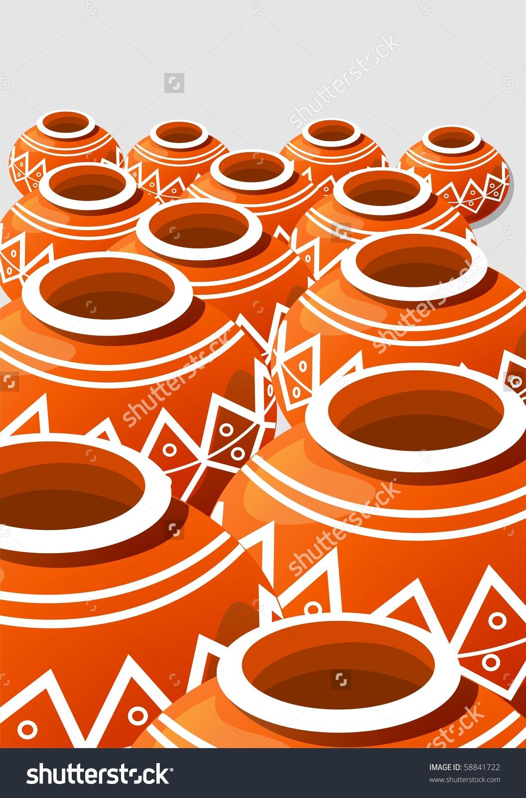 Illustration Of Earthen Pot With Design Work.