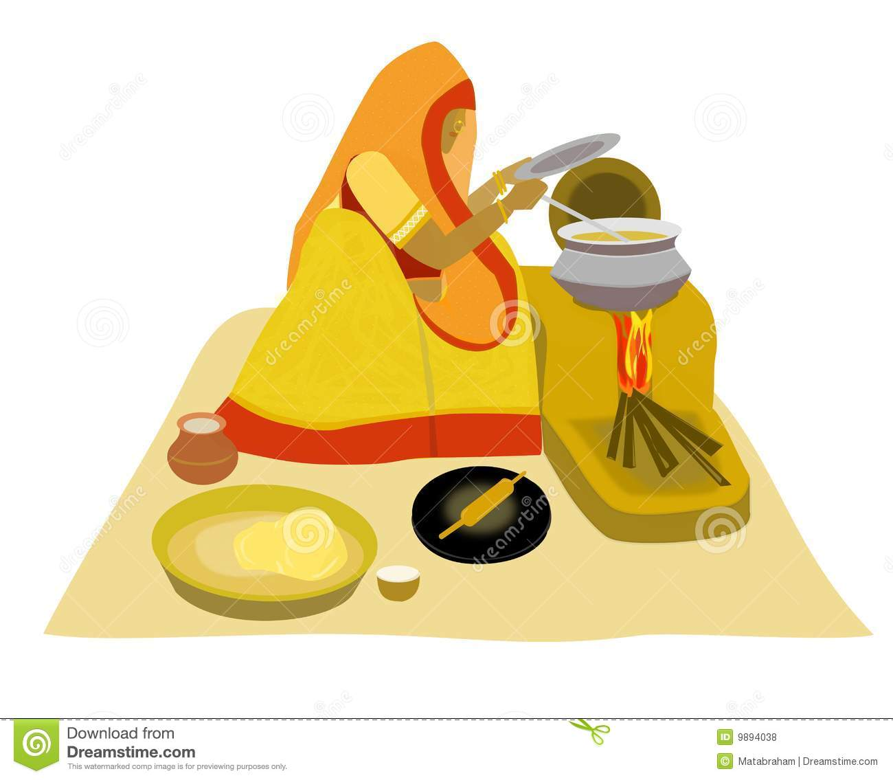 Royalty Free Stock Photos Indian Villlage Lady Cooking On Earthen.