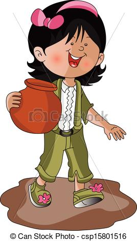 Vector Clip Art of Vector of a girl carrying earthen pot..