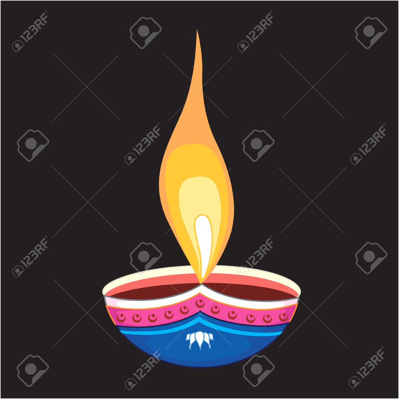Deepavali oil lamp clipart.