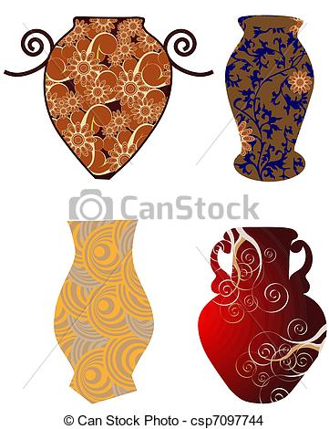 EPS Vector of Antique pottery isolated on white background.