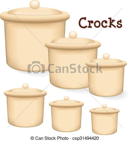 Vector Illustration of Crocks with lids.