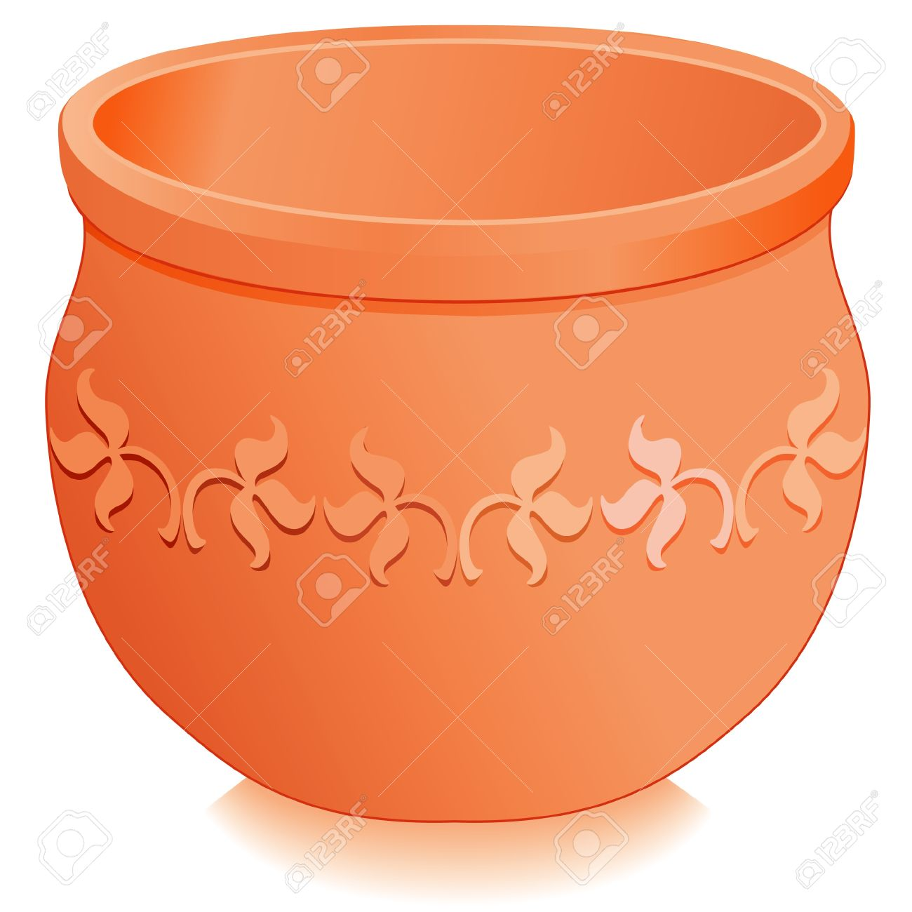 Flowerpot Planter Round Clay Pottery With Embossed Floral Designs.