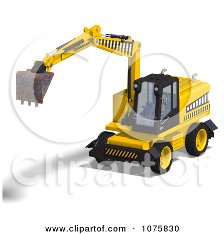 Clipart 3d Earth Mover Excavator 3.
