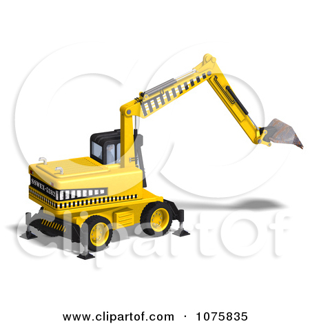 Clipart 3d Earth Mover Excavator 6.