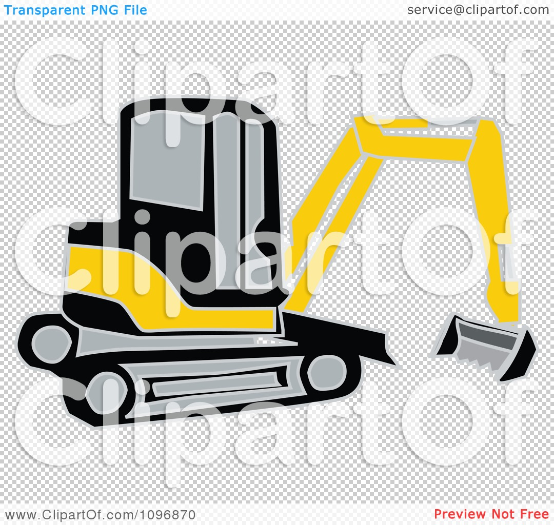 Clipart Black And Yellow Earth Mover Excavator.