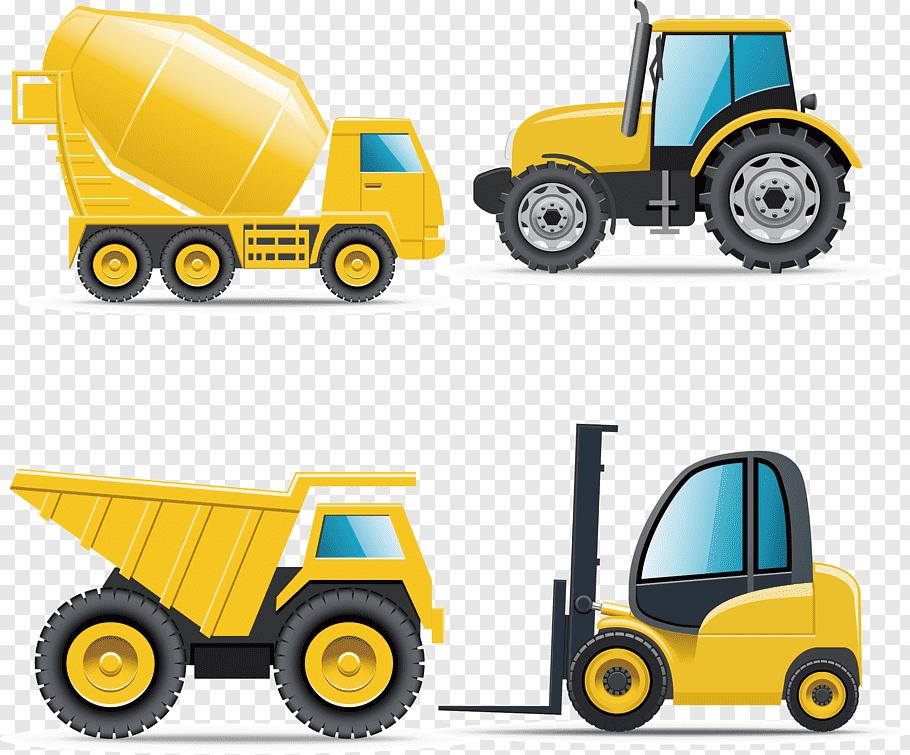 Four yellow heavy equipment, Car Heavy equipment.