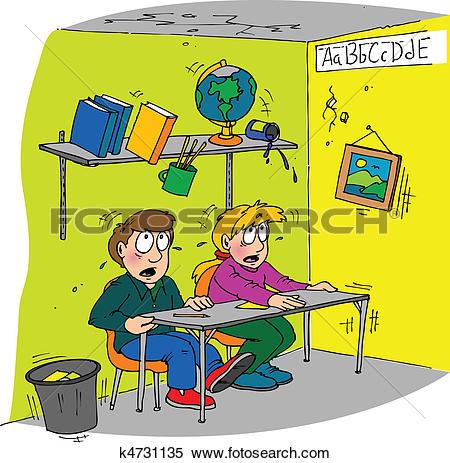 Clipart of earthquake classroom k4731135.