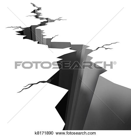 Clipart of Earth ground crack on white. Earthquake. k8144991.