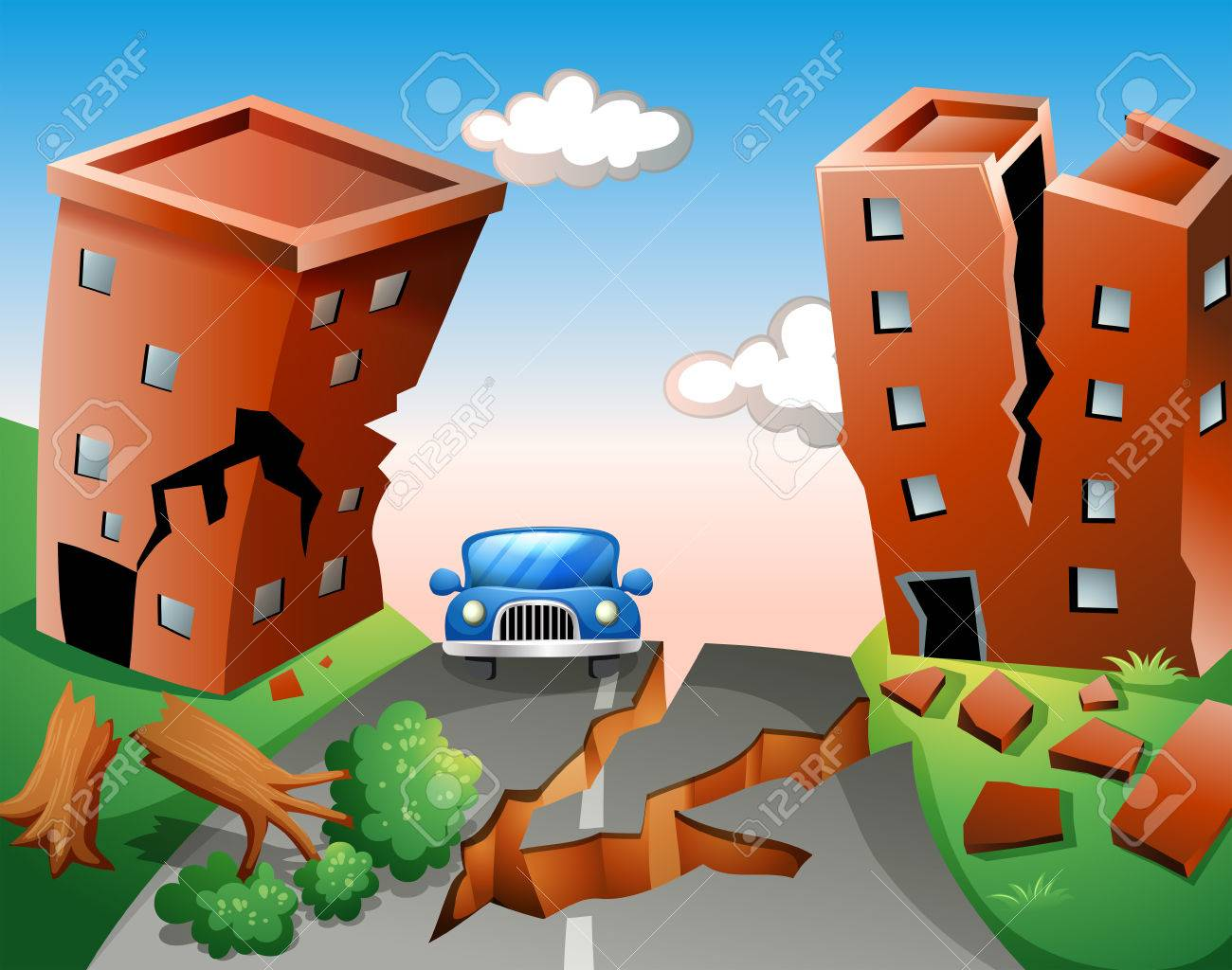 Earthquake scene at the town » Clipart Station.