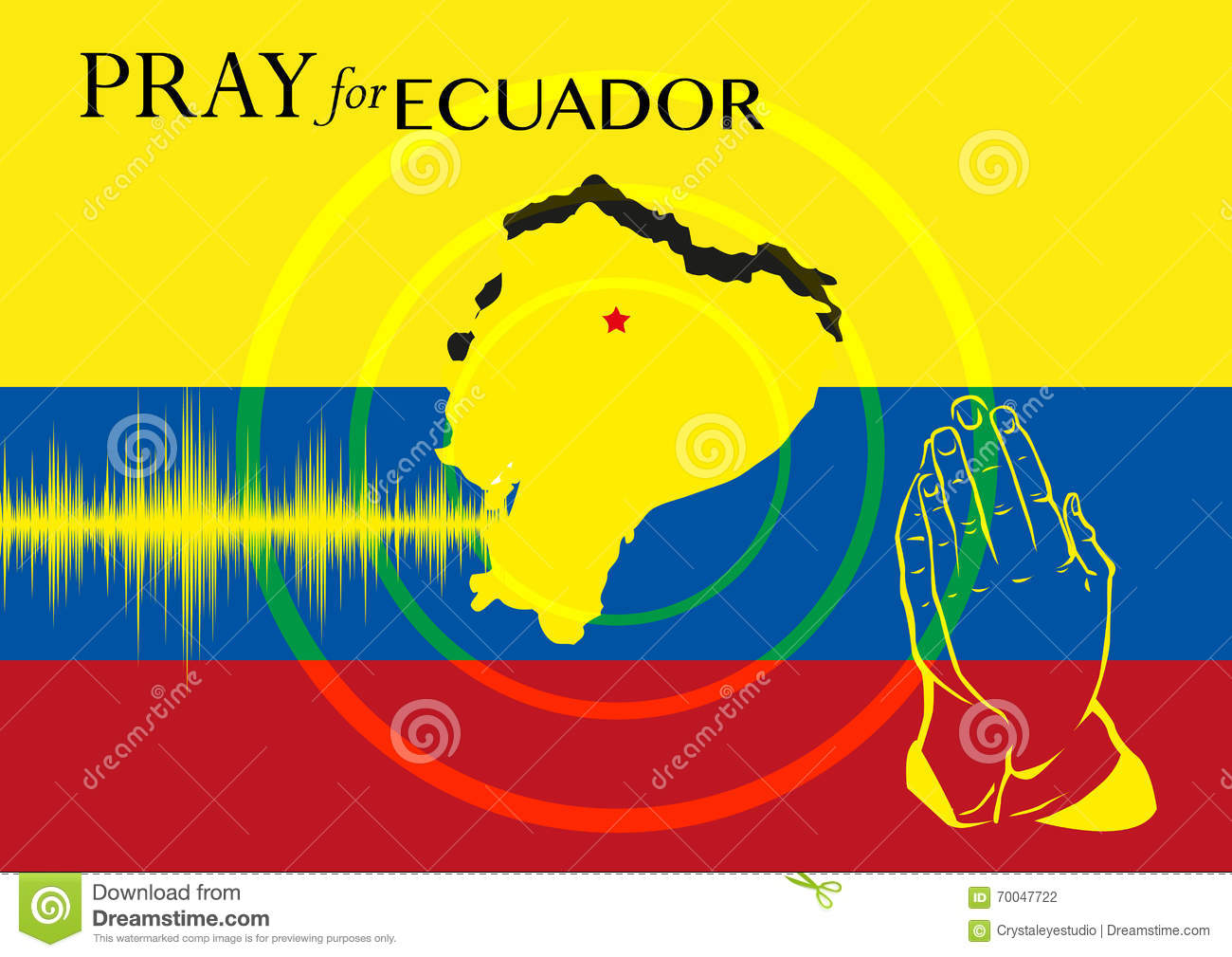 Pray For Ecuador. Relief Operation Or Support For Earthquake.