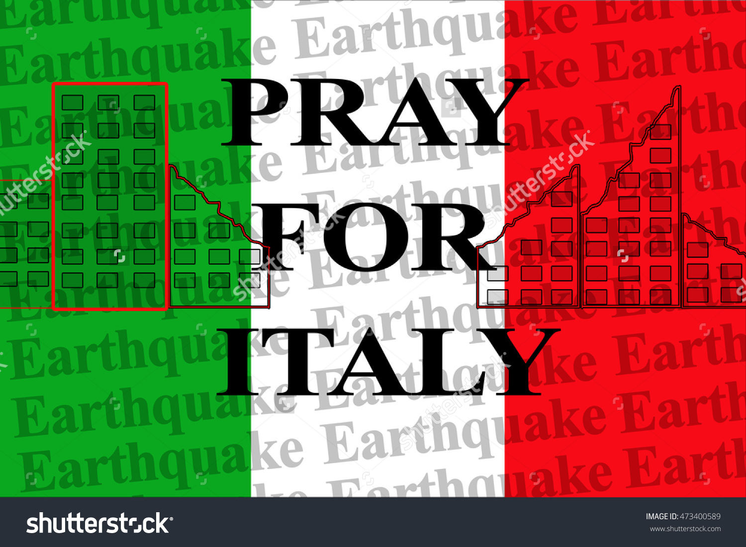 Pray Italy Text On Wallpaper Italy Stock Illustration 473400589.