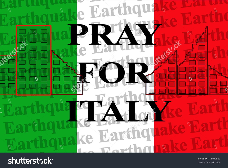 Pray Italy Text On Wallpaper Italy Stock Illustration 473400589.