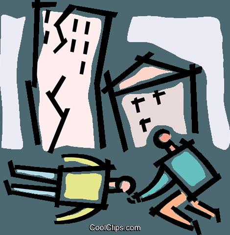 earthquake victims Royalty Free Vector Clip Art illustration.