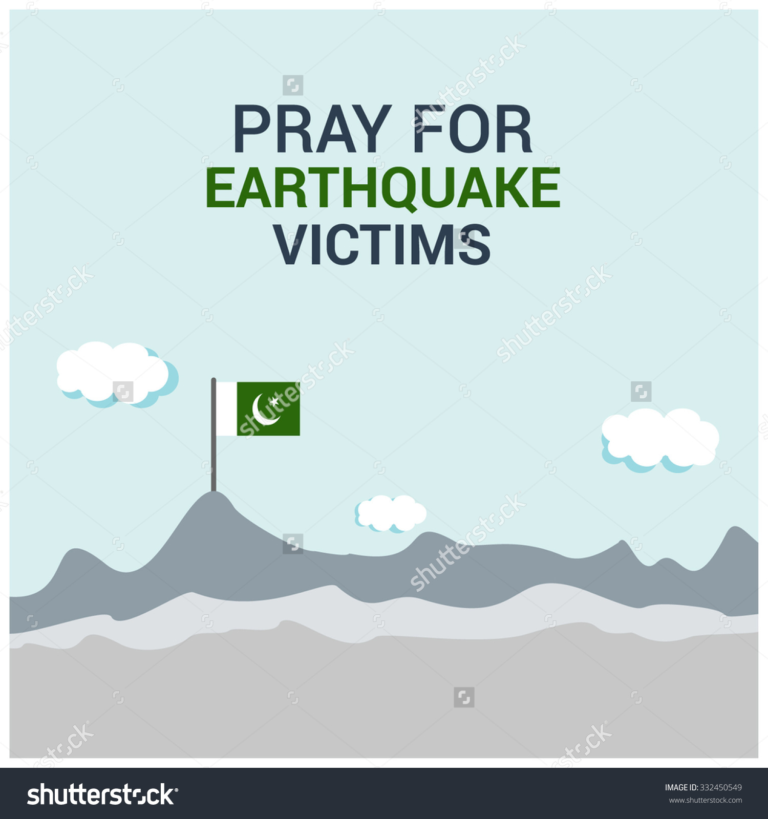 Pray Earthquake Victims Pakistan Template Pray Stock Vector.