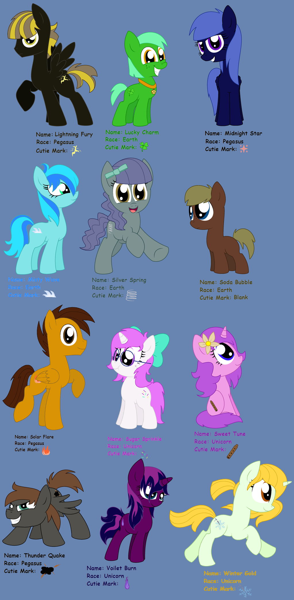 12 new MLPFIM OC's by Pupster0071 on DeviantArt.
