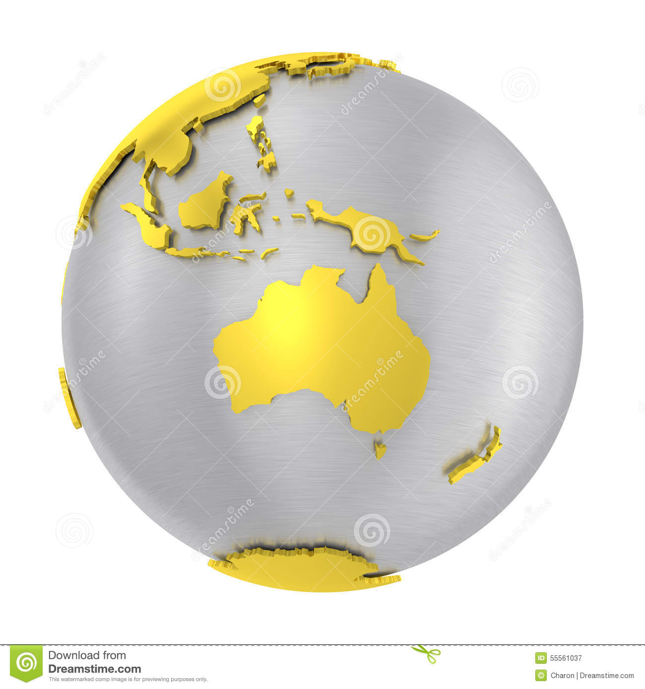 Brushed Steel 3D Globe Gold Earth Crust Stock Photo.