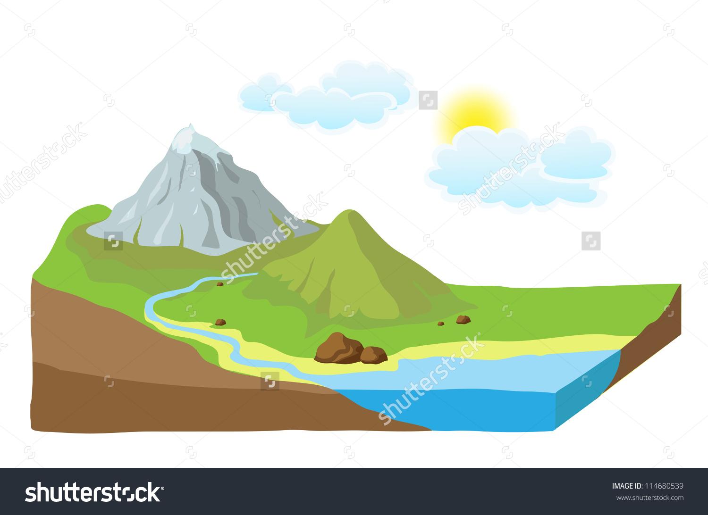 Earth Slice Landscape Vector Illustration Stock Vector 114680539.