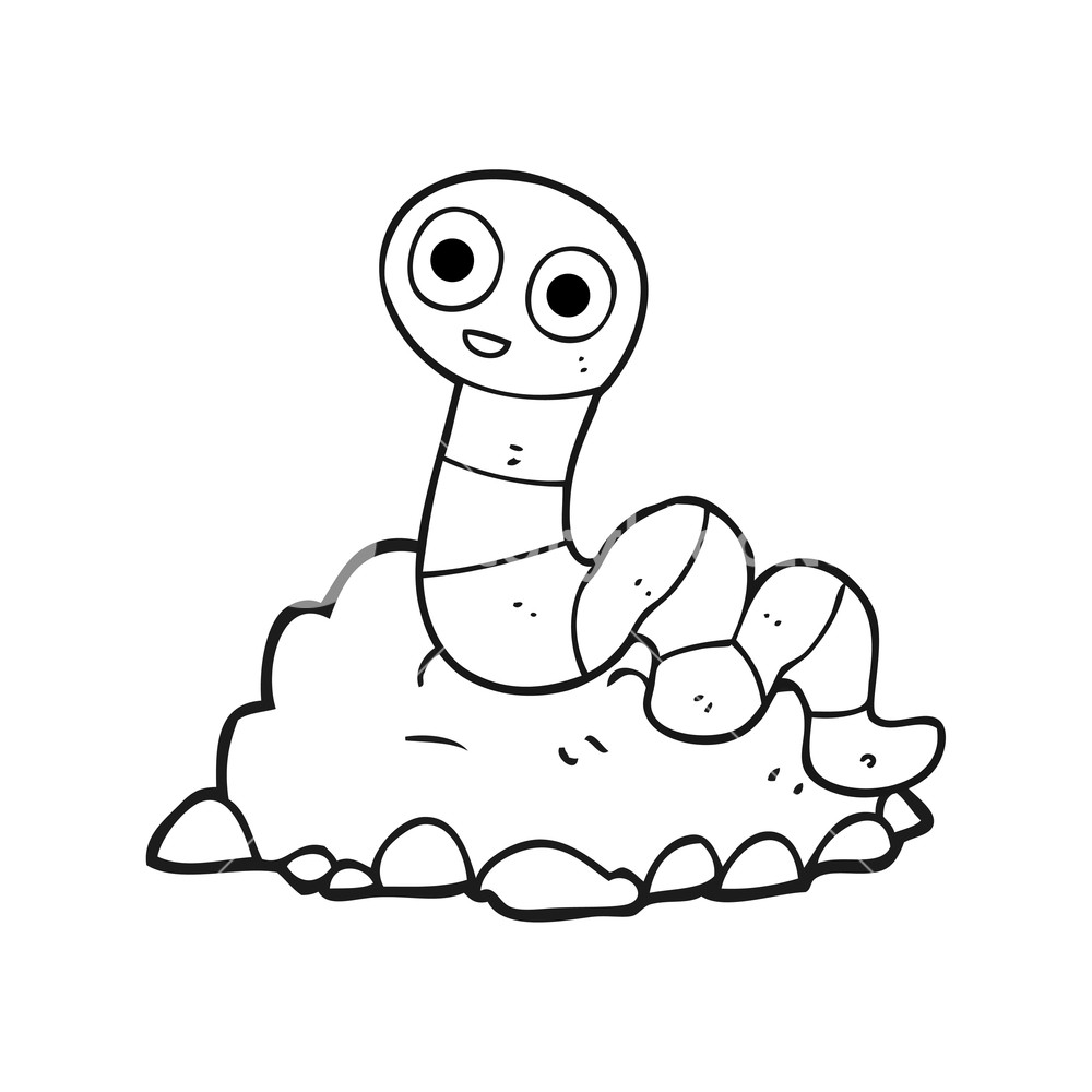 freehand drawn black and white cartoon earthworm Royalty.