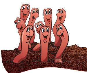 Earthworms in soil clipart.
