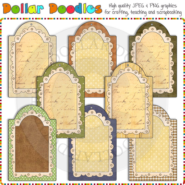 Doodle Frame Tags Earthy Clip Art Download [RS98274].