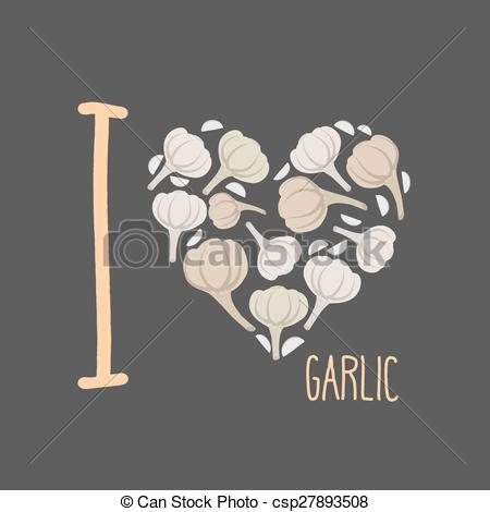 Vector Clipart of I love garlic. Heart of earthy garlic. Vector.