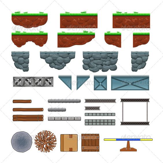 Platforms and Items for Games. barrier, block, box, cartoon.