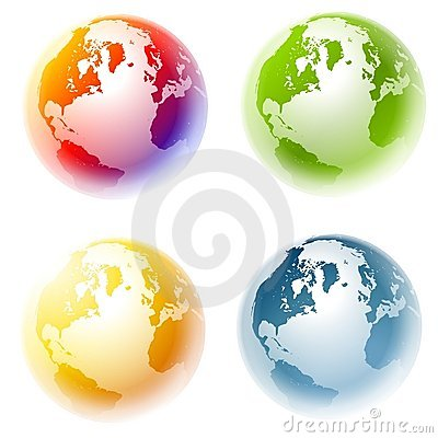 Colourful Planet Earth Globes Royalty Free Stock Photography.