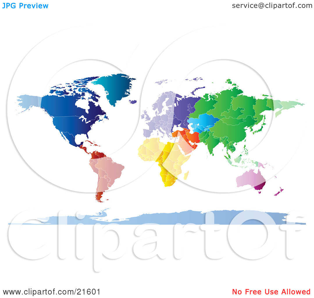 Clipart Illustration Graphic of a Map Of The Continents And.