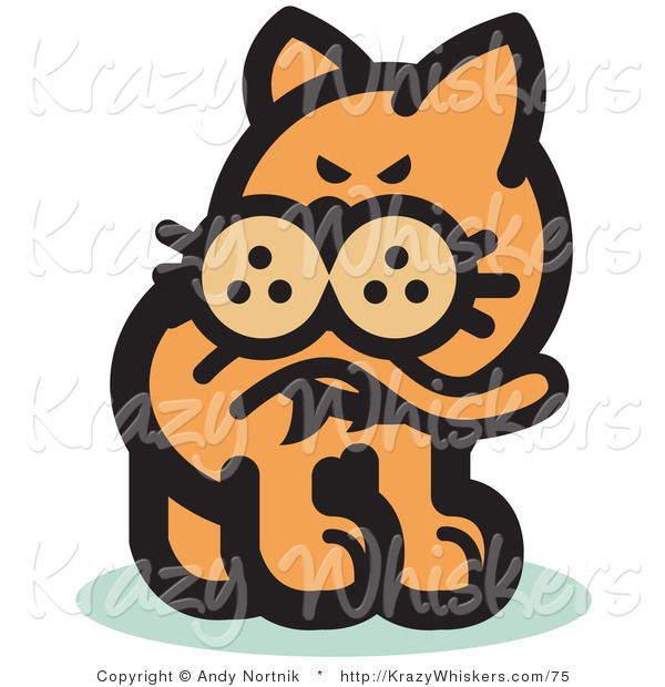 Critter Clipart of a Ginger Cat Biting His Tail to Ease a Flea.