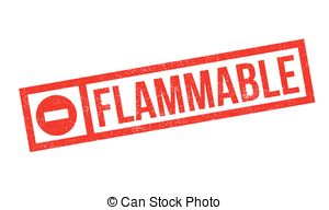 Vectors Illustration of Flammable rubber stamp. Grunge design with.