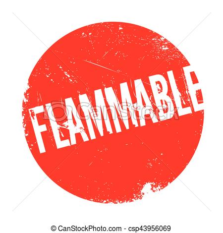 Clip Art Vector of Flammable rubber stamp. Grunge design with dust.
