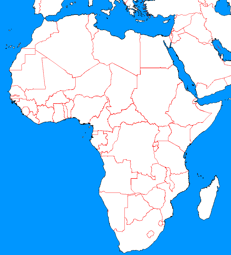 Maps For > Blank Map Of Middle East And Africa.